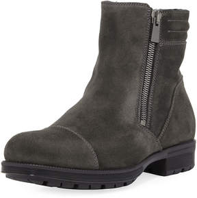 Aquatalia Hugh Waxy Suede Dual-Zip Boot, Gray