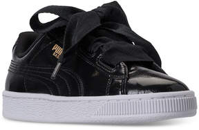 Puma Girls' Basket Heart Glam Casual Sneakers from Finish Line