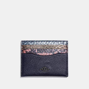 COACH Coach Flat Card Case In Striped Mixed Snakeskin - DARK GUNMETAL/SNAKE MULTI - STYLE