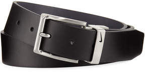 Nike Reversible Faux-Leather Belt, Black/Gray