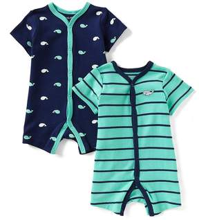 Little Me Baby Boys 3-12 Months Striped/Whale 2-Pack Shortall Set