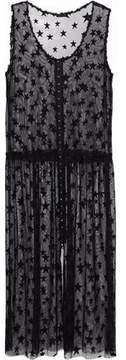 Anna Sui Embroidered Mesh Midi Dress