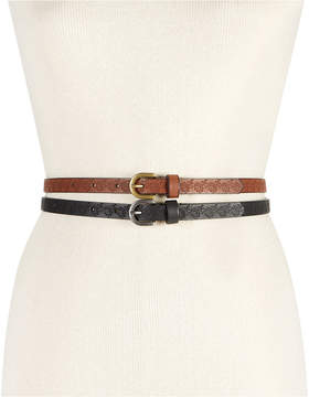 INC International Concepts Embossed Flower 2-For-1 Skinny Belts, Created for Macy's