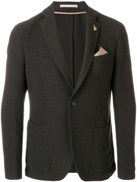 Paoloni patterned blazer with pocket square