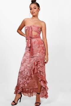 boohoo Boutique Devore Ruffle Knot Dress
