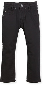 Givenchy Jeans w/ Faux-Leather Trim, Black, Size 4-5