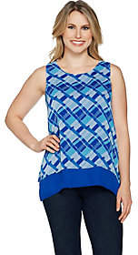 C. Wonder Sleeveless Woven Printed ChiffonTiered Top