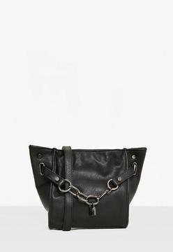 Black Chain Lock Cross Body Bag