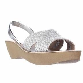 Kenneth Cole Fine Time Comfort Platform Wedge Sandals, Light Silver.