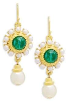 Ben-Amun Crystal and Faux Pearl Drop Earrings
