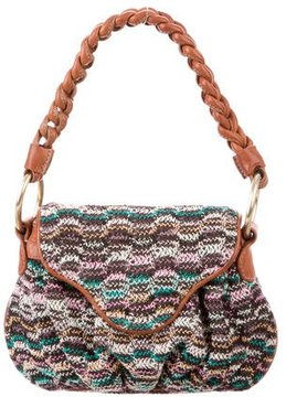 Missoni Leather-Trimmed Woven Handle Bag