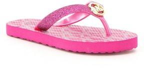 MICHAEL Michael Kors Girls' Endine Tara Glitter MK Logo Hardware Flip Flop