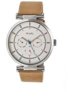 Simplify The 4800 SIM4806 Silver and Khaki Leather Analog Watch