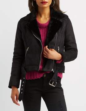 Charlotte Russe Faux Suede & Fur Belted Moto Jacket
