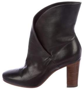 Celine Leather Round-Toe Ankle Boots