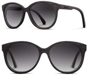 Shwood Women's 'Madison' 54Mm Round Polarized Wood Sunglasses - Black/ Grey Fade Polar