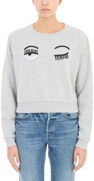 Chiara Ferragni Grey Cotton Sweatshirt
