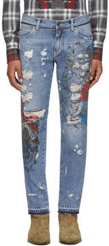 Dolce & Gabbana Blue Embroidered Jeans