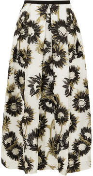 Erdem Elena Cotton-blend Fil Coupé Midi Skirt - White
