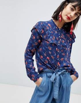 Esprit Floral Print With Ruffle Front Shirt