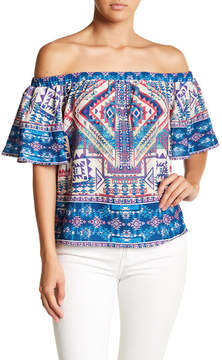 Flying Tomato Print Off-the-Shoulder Blouse