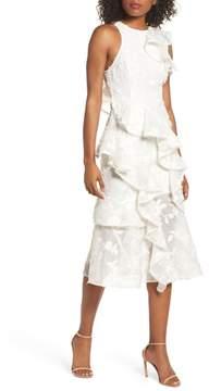 Keepsake the Label Shine Ruffle Lace Tea Length Dress