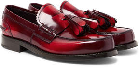 Prada Spazzolato Leather Tasselled Loafers