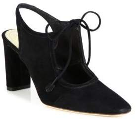 The Row Camil Suede Ankle-Tie Slingbacks