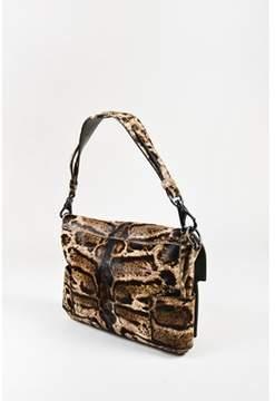 Givenchy Pre-owned Brown Tan Calf Hair Animal Print Gunmetal Tone Hardware Melancholia Bag.