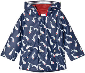 Catimini Navy Shark Print Hooded Raincoat