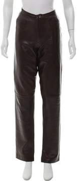 Barneys New York Barney's New York Leather Mid-Rise Pants