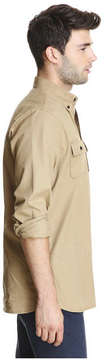 Joe Fresh Men's Twill Work Shirt, Dark Tan (Size S)