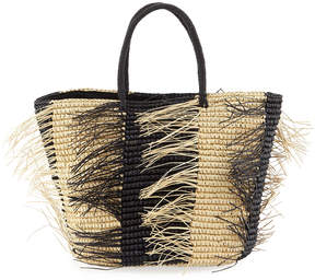 Sensi Studio Two-Tone Straw Tote Bag