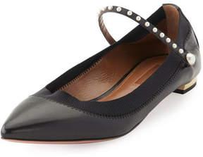 Aquazzura Nolita Pearly-Studded Mary Jane Flat, Black