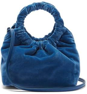 The Row Double Circle Small Velvet Bag - Womens - Blue