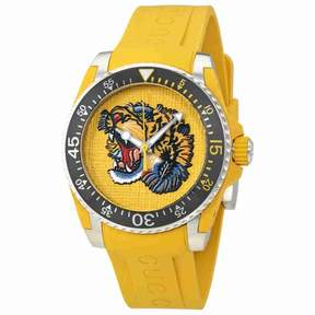 Gucci Yellow Embroidered Tiger Dial Men's Watch YA136317