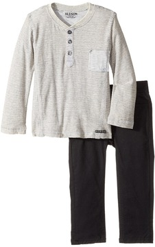 Hudson Two-Piece Striped Jersey Top Stretch Twill Pants Boy's Active Sets
