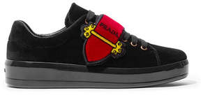 Prada Embellished Velvet Sneakers - Black