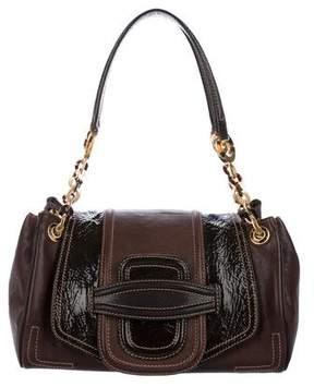 Oscar de la Renta Patent Leather-Trimmed Flap Bag