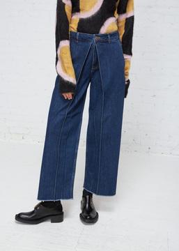 Aalto Blue Pleated Cropped Jean