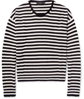 Haider Ackermann Oversized Striped Ribbed Wool And Cashmere-Blend Sweater