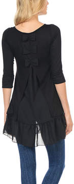 Celeste Black Bow-Back Ruffle-Hem Top - Women