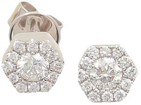 Frederic Sage 18K White Gold Firenze Mini Single Hexagon Diamond Stud Earrings