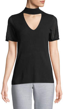 T Tahari Giandra Choker Short-Sleeve Sweater