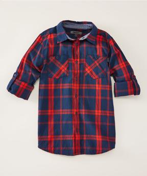 DKNY Dress Blues Tune-Up Long-Sleeve Button-Up - Boys