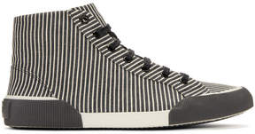 Lanvin Black and White Striped Canvas Mid Sneakers