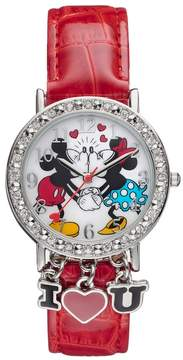 Disney Disney's Kissing Mickey & Minnie Mouse Women's Crystal Charm Watch