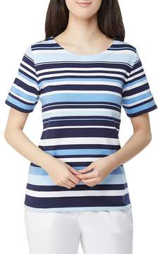 Allison Daley Petites Wide Crew-Neck Stripe Knit Top