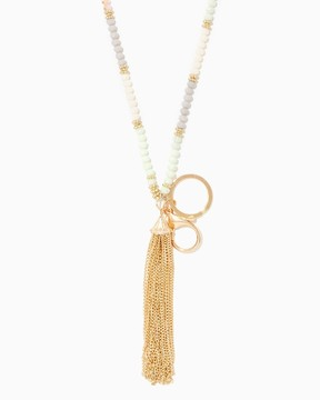 Charming charlie Beaded Tassel Lanyard Necklace