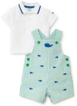 Little Me Baby Boy's Two-Piece Whales Cotton Polo and Shortall Set